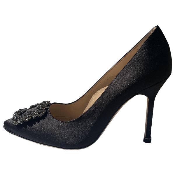 Manolo Blahnik Hangisi Black Cloth Heels