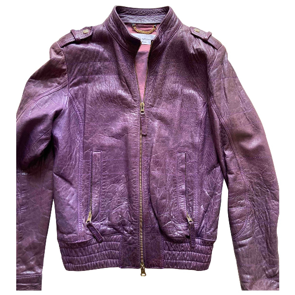 Daniele Alessandrini Purple Leather Jacket