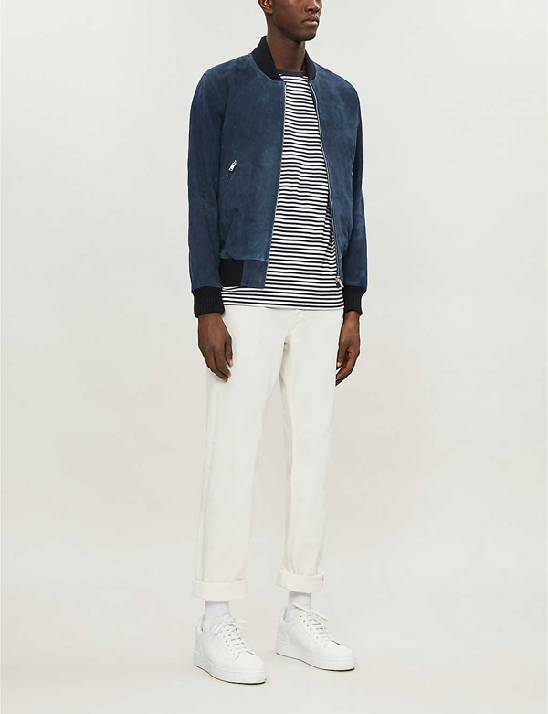 Sandro Monaco Collared Suede Bomber Jacket In Blue