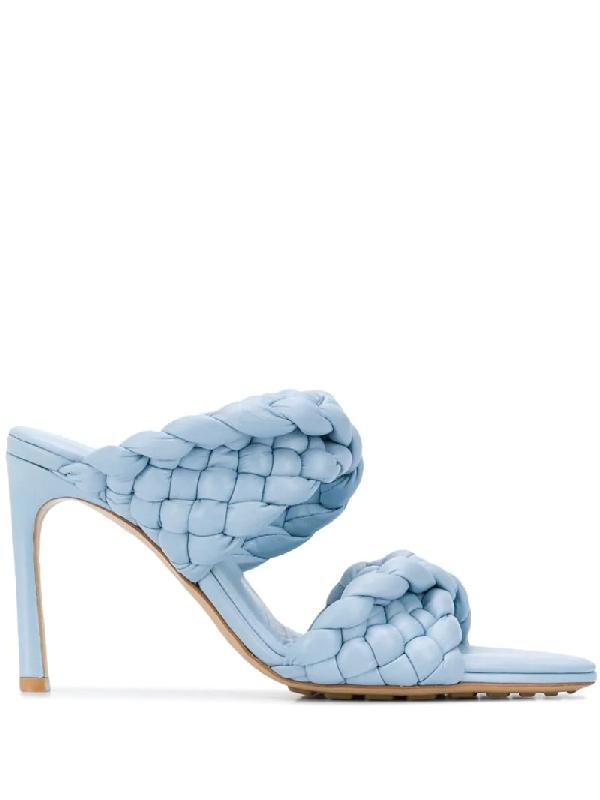 Bottega Veneta Lido Double-twist Intrecciato-woven Leather Heeled Mules In Blue