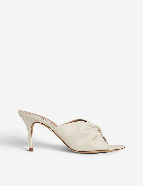 Lk Bennett Nadia Open-toe Leather Mules In Whi-off White