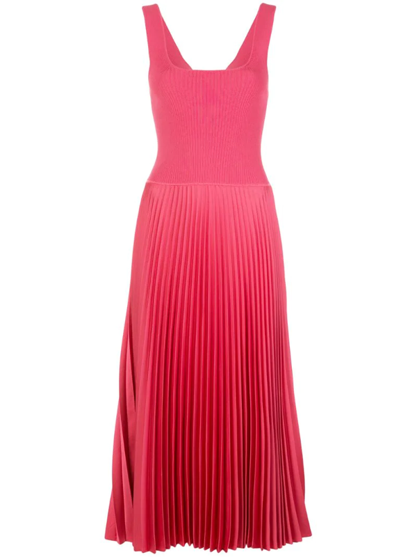 Theory Women's Pleated Contrast Midi Dress In Pink