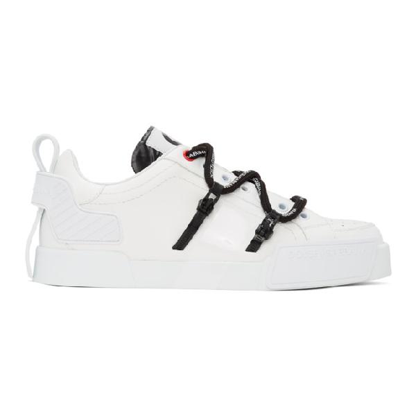 Dolce & Gabbana Portofino Sneakers In Calfskin And Patent Leather In White/black