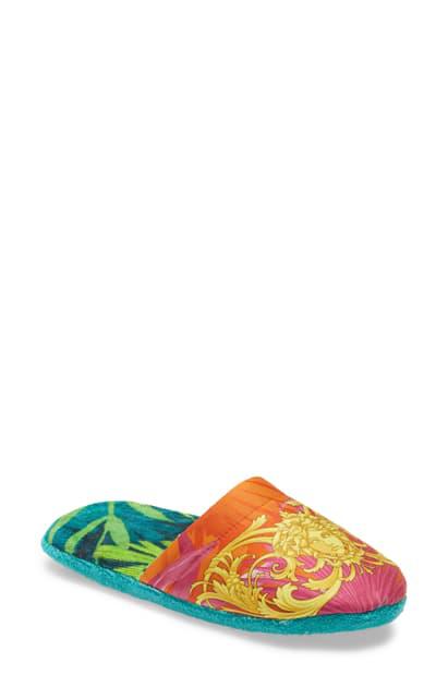 Versace Men's Medusa Leaf Bath Slippers In Red/ Print