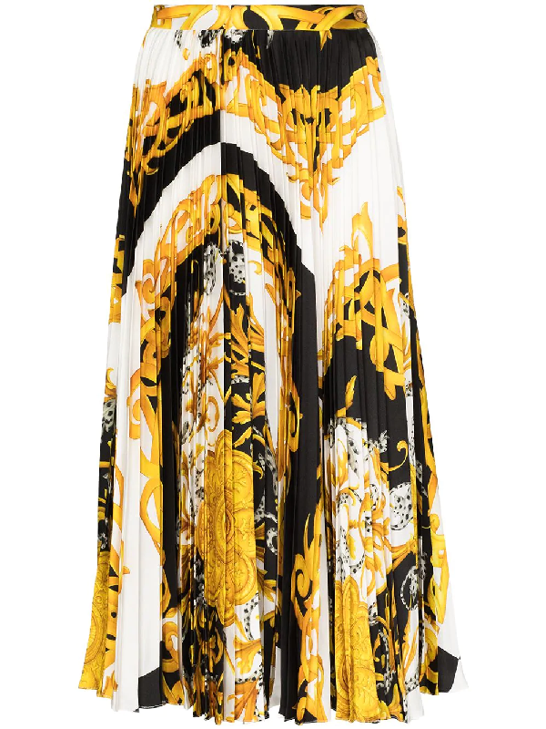 Versace Barocco Acanthus Printed Pleated Midi Skirt In Weiss
