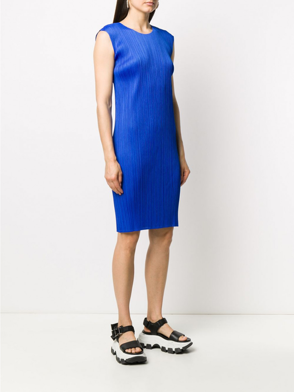 Pleats Please Issey Miyake New Colorful Dress In Blue