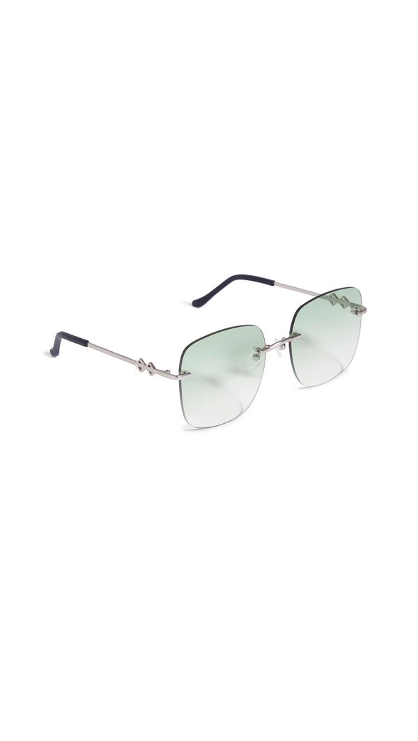 Karen Wazen Madison Oversized Square-frame Metal Sunglasses In Green