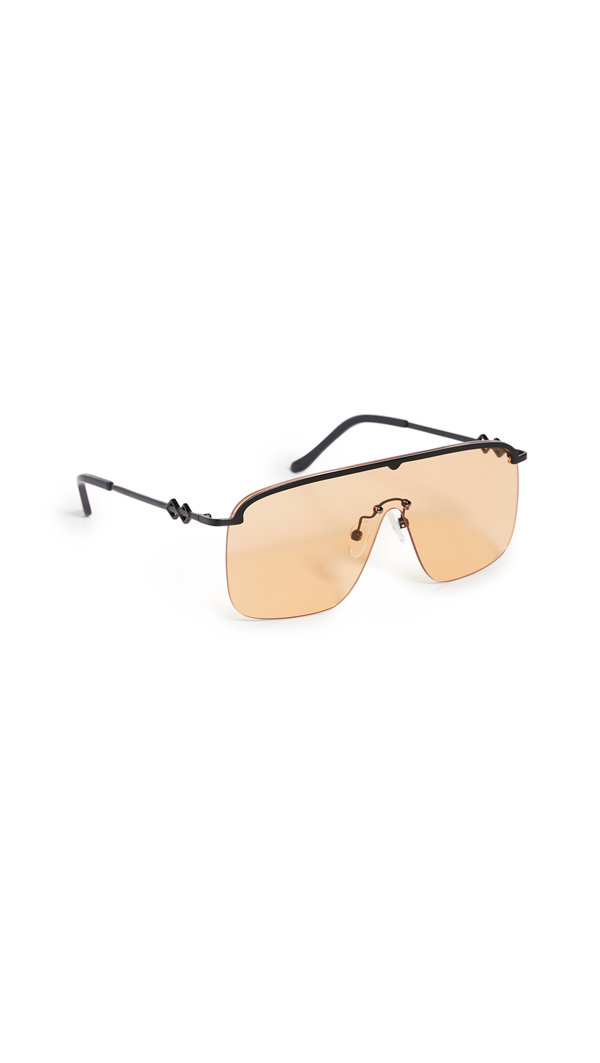 Karen Wazen Amira Aviator-style Metal Sunglasses In Orange