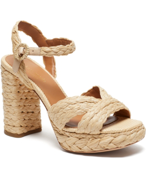 Kate Spade Disco Raffia Platform Sandals In Natural