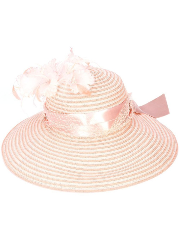 Gigi Burris Millinery Feather Embellished Hat In Pink