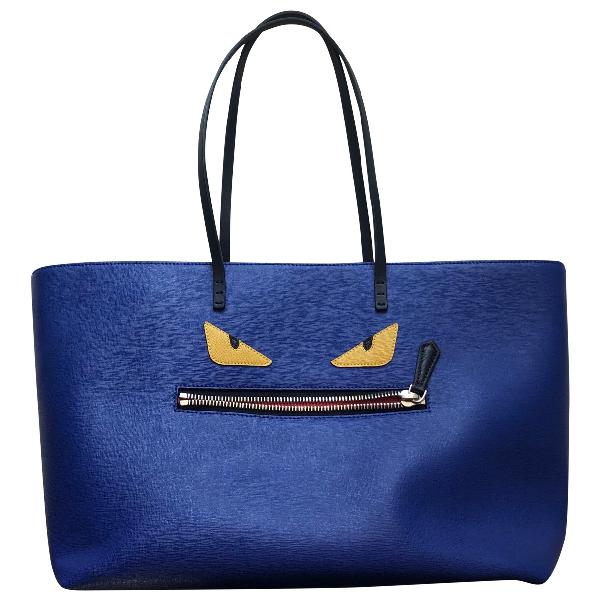 Fendi Roll Bag  Blue Leather Handbag