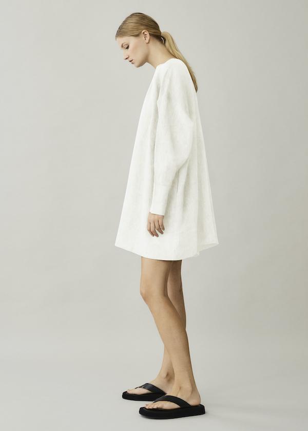 Asceno Santorini Lemon Short Linen Dress In Printed