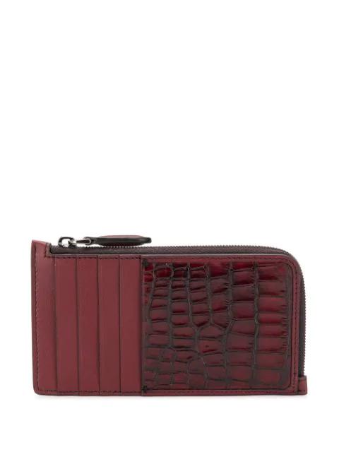 Ermenegildo Zegna Crocodile-effect Cardholder In Red