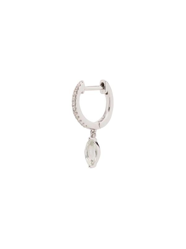 Roxanne First 14k White Gold Amethyst Drop Diamond Hoop Earring In Silver