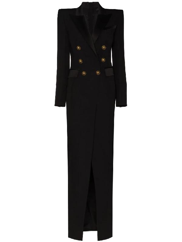 Balmain Button-embellished Maxi Dress In Black
