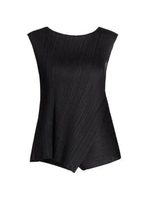 Pleats Please Issey Miyake Women's Diagonal Pleats Sleeveless Top In Black