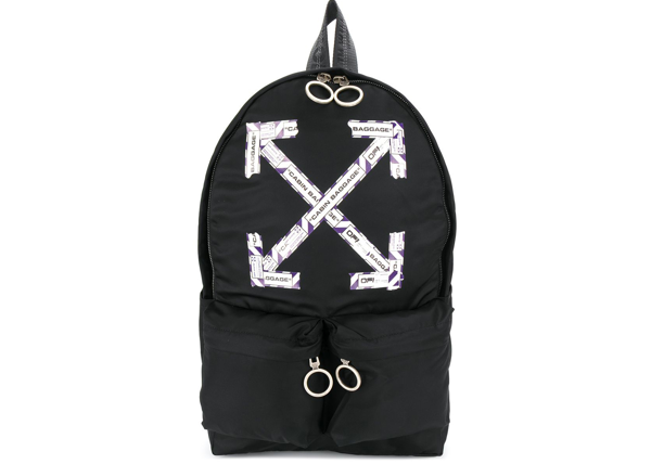 Pre-owned Off-white  Airport Tape Diagonal Arrows Backpack Black/purple