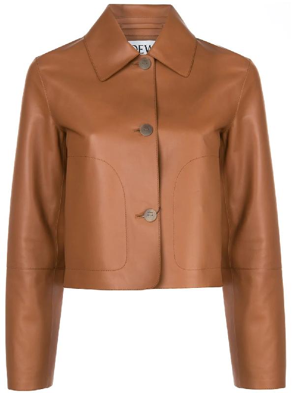 Loewe Nappa Leather Jacket In Brown