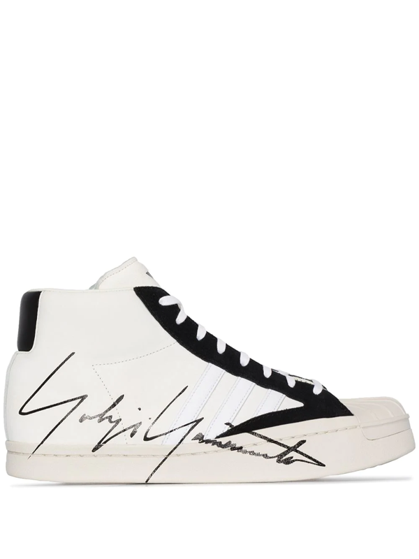 Y-3 Yohji Pro Hi Top Sneakers In Ivory Color In White