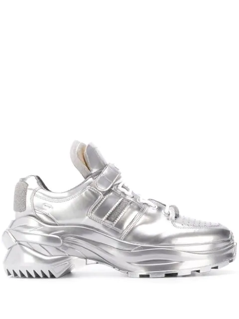 Maison Margiela Artisanal Low Top Metallic Sneakers In T9002 Silve