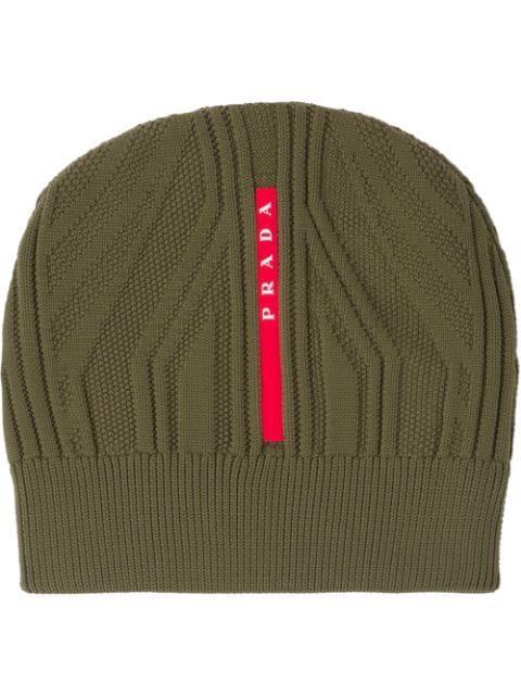 Prada Technical Knit Beanie In Green