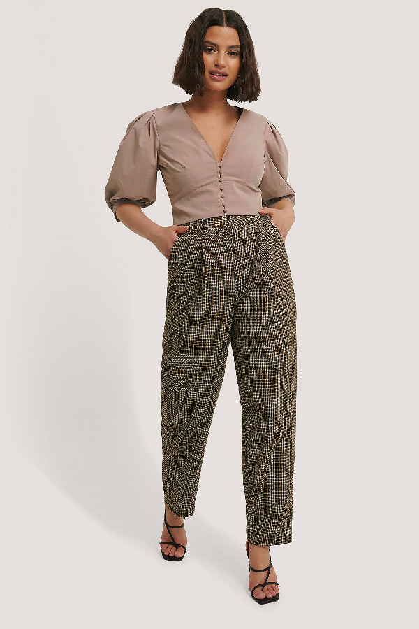 Chloé B X Na-kd Pleat Balloon Checked Suit Pants Multicolor