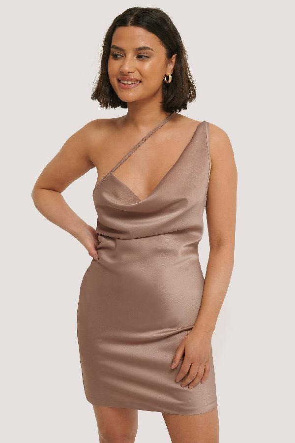 Chloé B X Na-kd Side Straps Waterfall Dress - Pink In Mauve