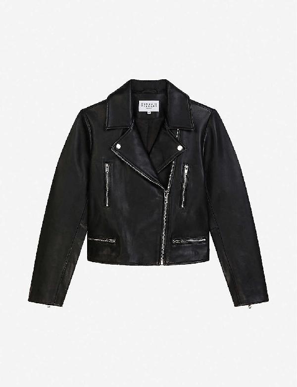 Claudie Pierlot Caisa Leather Biker Jacket In Black
