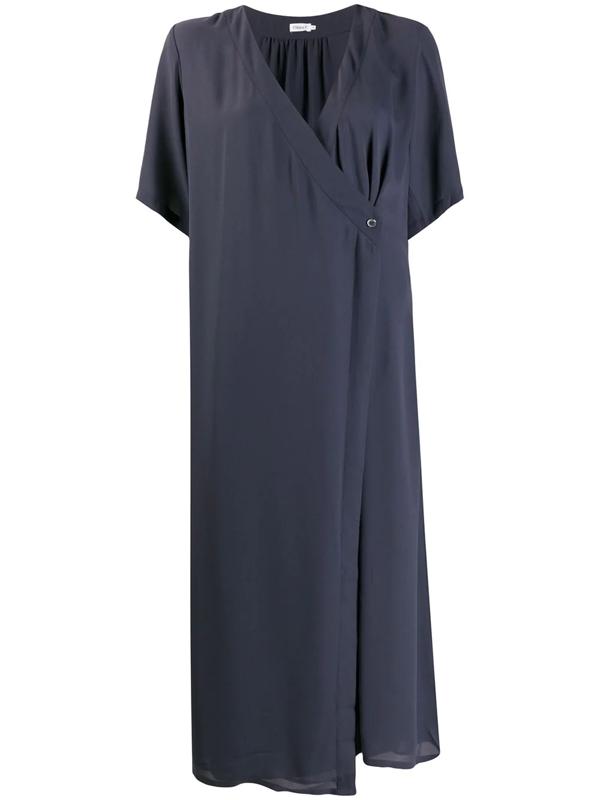 Filippa K Amalia Wrap Midi Dress In Blue