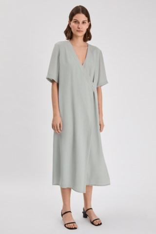 Filippa K Amalia Wrap Midi Dress In Green Fog