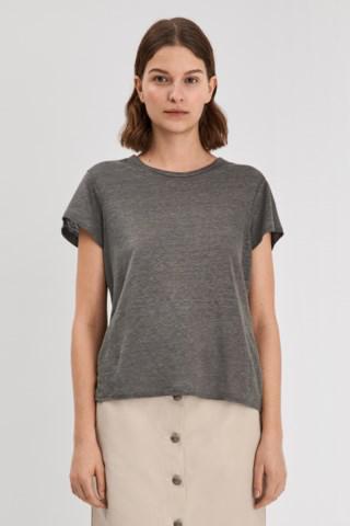 Filippa K Hazel Round Neck T-shirt In Nickel Grey