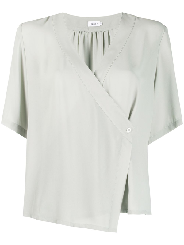 Filippa K Reagan Wrap Blouse In Green