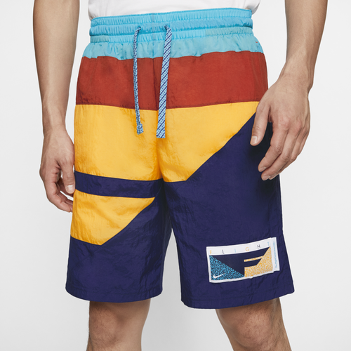 Nike Flight Nylon Athletic Shorts In Blue Void/ Gold/ Orange