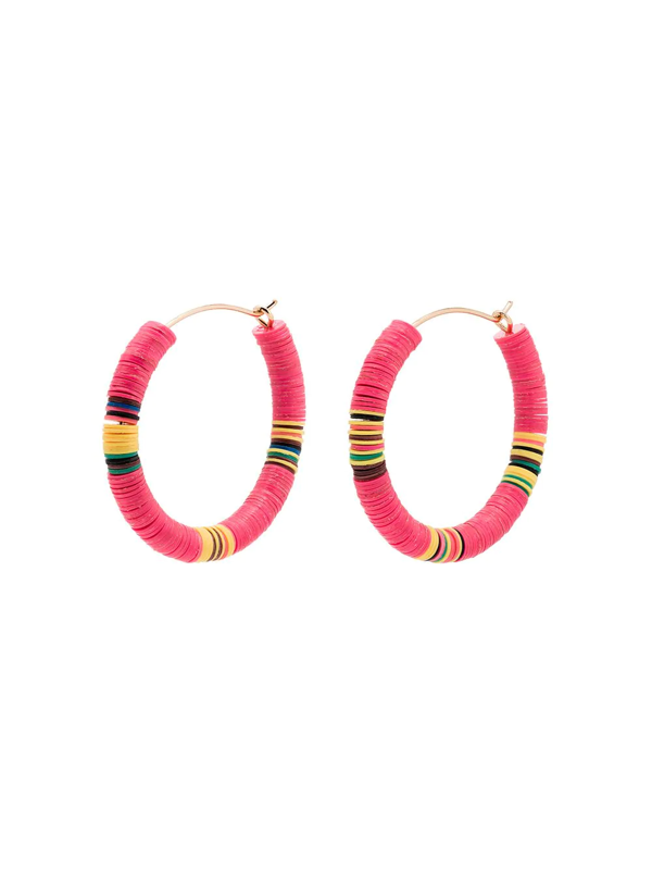 All The Must Gold-plated Heishi Beaded Hoop Earrings In Pink