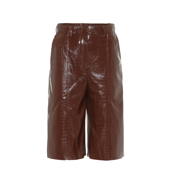 Dodo Bar Or Ivgenya Croc-effect Leather Shorts In Brown