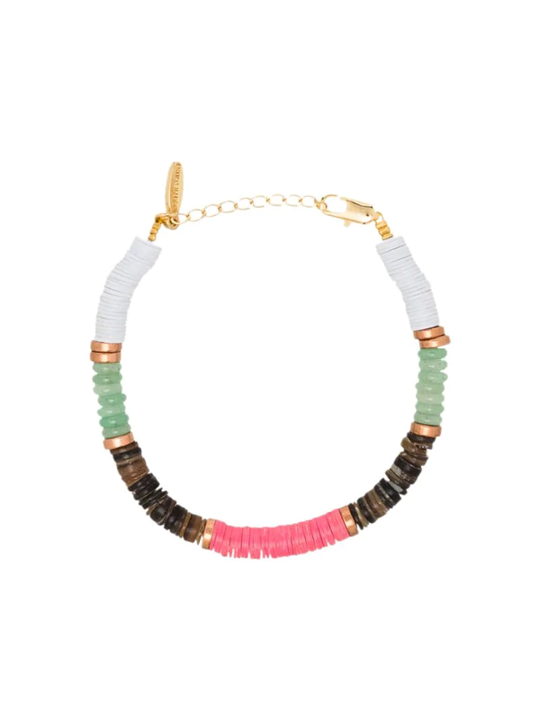 All The Must Gold-plated Precious Heishi Beaded Bracelet In White