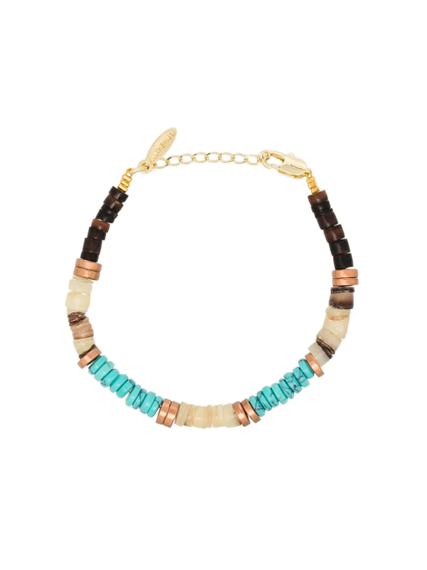 All The Must Gold-plated Precious Heishi Beaded Bracelet In Blue