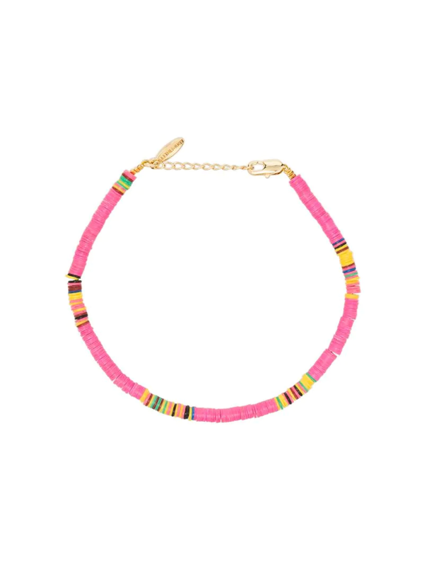 All The Must Gold-plated Heishi Beaded Anklet Set In Pink
