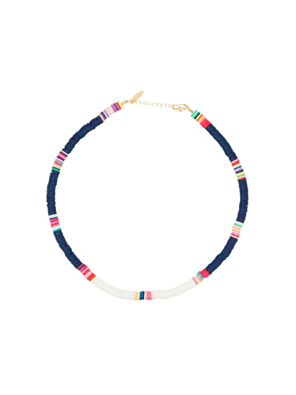 All The Must Gold-plated Heishi Beaded Necklace In Blue