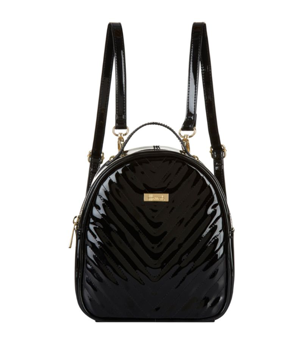 Harrods Mini Patent Chevron Backpack