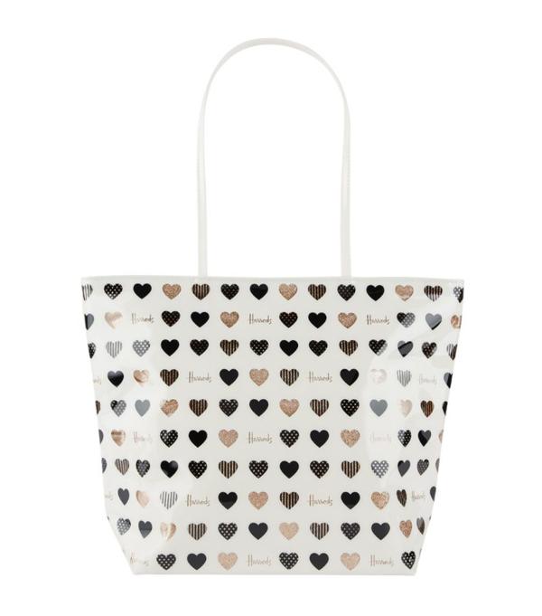 Harrods Glitter Hearts Tote Bag