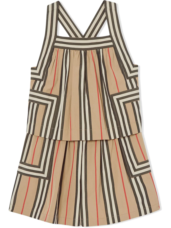 Burberry Kids' Multicolour Cotton Icon Stripe Playsuit In Neutrals