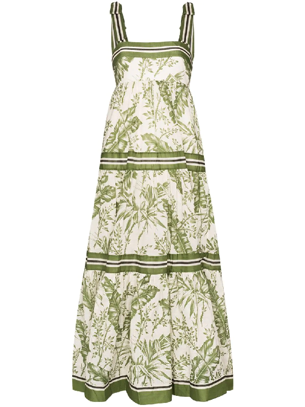 Zimmermann 'empire' Stripe Tie Shoulder Contrast Botanical Print Dress In White