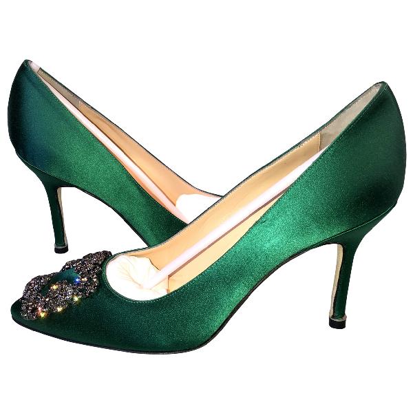 Manolo Blahnik Hangisi Green Cloth Heels
