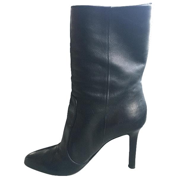 Tamara Mellon Black Leather Ankle Boots