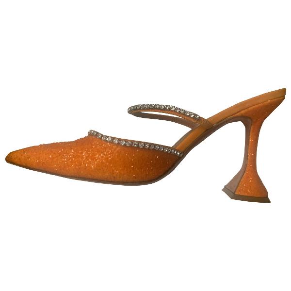 Amina Muaddi Orange Glitter Heels