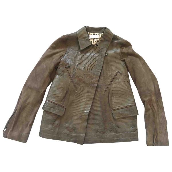 Wunderkind Khaki Lizard Leather Jacket