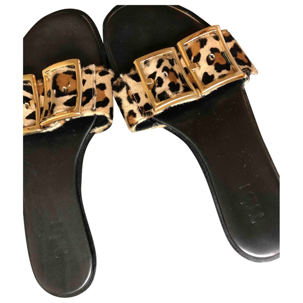 Pre-owned Tibi Beige Pony-style Calfskin Sandals