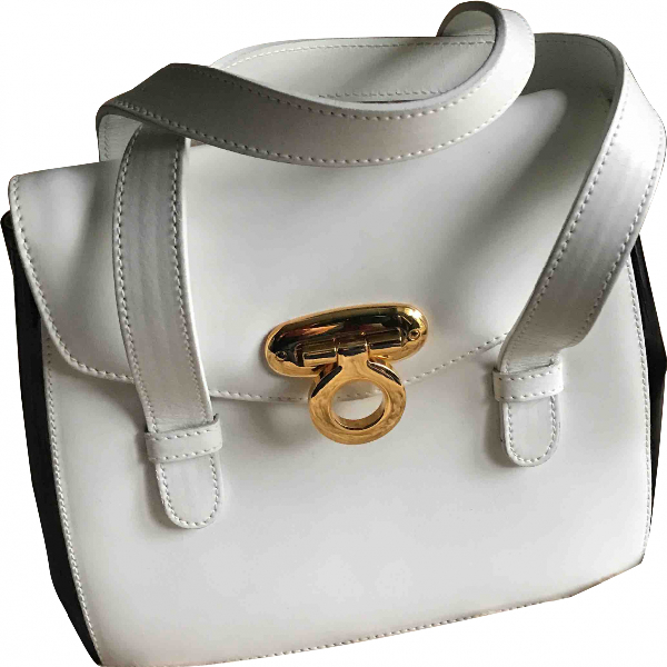 Harrods White Leather Handbag