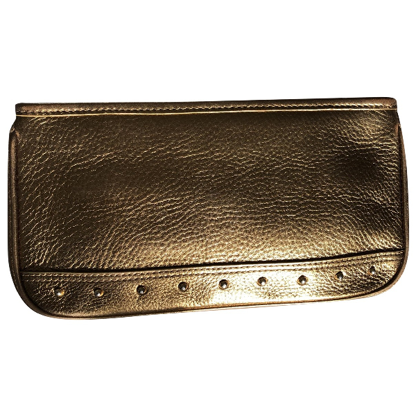 Harrods Gold Leather Clutch Bag